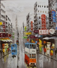 100%Hand Painted Knife Oil Painting on Canvas Abstract Hong Kong Trams Street Canvas Painting Wall Art Picture for Home Decor
