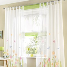Fashion tulle for window gauze voile translucidus sheer curtain for kitchen the bedroom living room design curtain fabric drapes