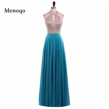 A line evening dresses  halter top beading dress for graduation vestidos de formatura longo 2017 abendkleider 06282W