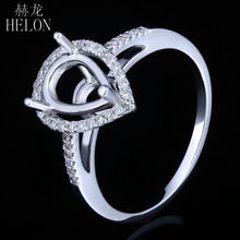 HELON Pear 10x6mm Solid 10K White Gold Genuine Natural Diamonds Engagement Wedding Semi Mount Fine Jewelry Ring For Women's Ring