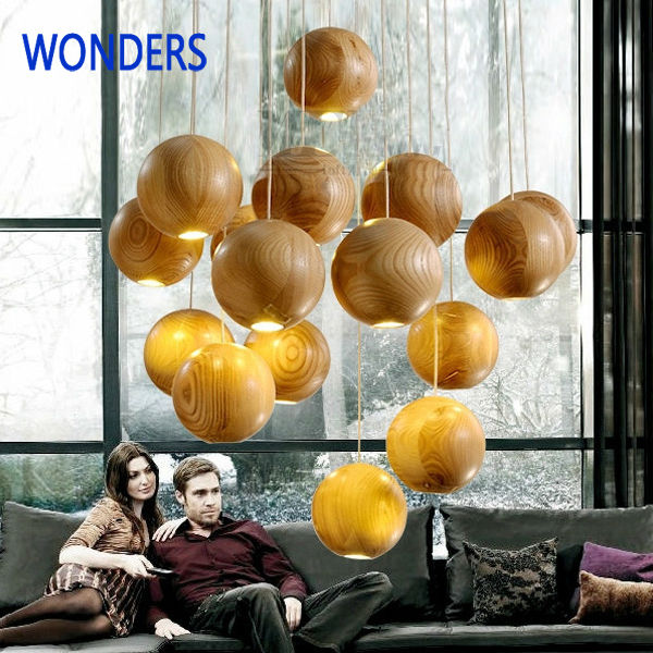 pendant lights Wooden small ball led lamp dining room bedroomround wood led lamp lighting personality for study room bar<br>