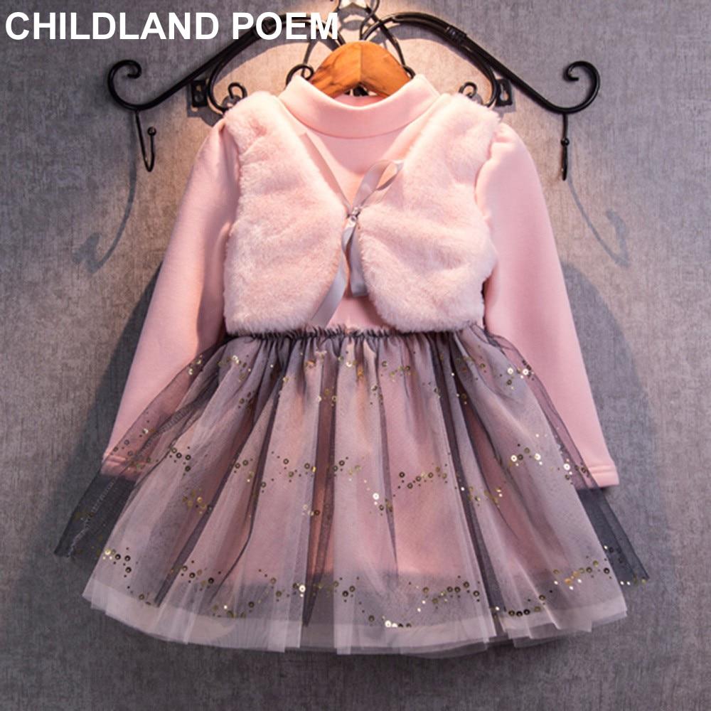 Grils Dress 2017 Winter Dresses Faux Fur Vest Children Clothing Princess Dress Pink Long Sleeve Wool Bow Design Girls Clothes<br><br>Aliexpress