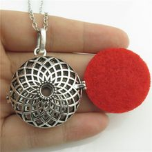 "GLOWCAT B0Q292 Aromatherapy Vintage Silver Copper Diffuser Sunflower Locket Fragrance Essential Oils Necklace 24"" Women"