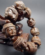 Excellent hand-carved Chinese carved Guanyin agarwood rosary beads to ward off evil hand carved bracelet 9, free shipping(China)