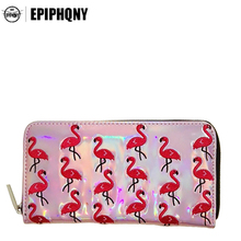 Epiphqny Fashion Brand Hot Holographic Silver Long Wallet Embroidery Pink Flamingo Cute Purse Female Bling Colors Luxury Design(China)