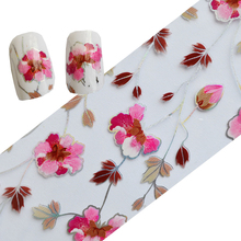 100cmx4cm Beauty Pink Flower Nail Art Foils Transfer Nail Art Stickers DIY Polish Decals for Glitter Decor Nail Tools LAXK05
