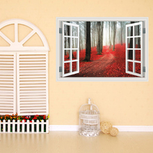 Creative Home Decor 3D Fake Window Wall Stickers Red Maple Grove Pattern For Living Room Mural Art Decal Wallpaper 60*90 CM(China)