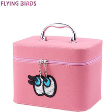 FLYING BIRDS Cosmetic Bags Box Makeup Bag women cosmetic cases Beauty Case Travel purse Jewelry Display Case on sale LM4246fb