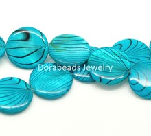 "DoreenBeads Blue Zebra Print Round Shell Loose Beads 20mm, 40cm(15-3/4"") long, sold per lot of 1 strand (B17957), yiwu"
