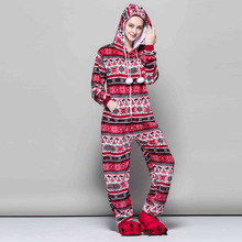 All In One Women Snowflake Pajamas High Quality Flannel Pajamas Sets Cartoon Animals Red Bird Sexy Hooded Pyjima Sleepwear Q2316(China)