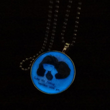 1PC Glow in the Dark Necklace For Couple Lovers Valentine Long Necklace Luminous Time Gem Couples Pendant Necklace