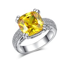 H:HYDE big yellow Natural stone Silver Color Ring For Women CZ stone Wedding engagement fashion classic finger Jewelry