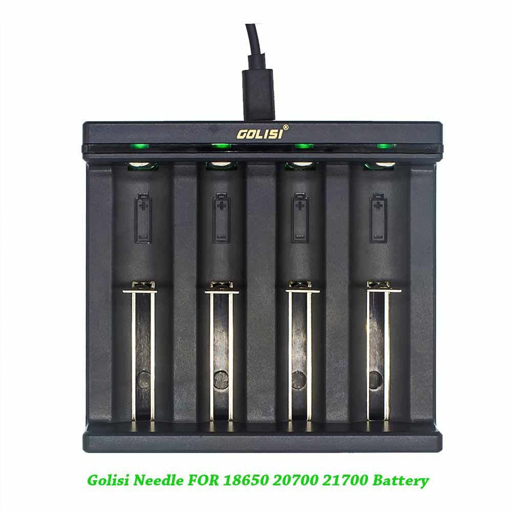 Golisi Needle I4 Batterry Smart Charging for 18650 20700 21700 26650 18350 USB Chargers Batterry Changer USB Power Port 5V 2A