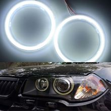 2 Pcs COB Angel Eyes Auto Halo Rings COB 70mm 100mm 120mm 60/72/93SMD Angel Eye Ring Car Headlight Motorcycle White 12V Led