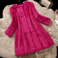 2017 Korean Style Lady Real Rabbit Fur Coat Jacket O-Neck Autumn Winter Women Fur Trench Outerwear Coats Garment VF1088(China)