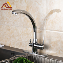 Chrome Solid Brass Kitchen Mixer Deck Mounted Single Hole Two Handles Hot And Cold Water Faucets