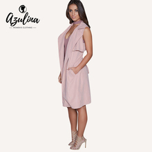 AZULINA Brand Casual Trench For Women Slim Ladies Sleeveless Pink Long Female Trench Coat Femme Spring Summer With Belt Sashes(China)