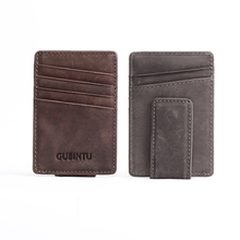 Front Pocket Genuine Leather Luxury Brand Men Wallet Purse Hold Bill With Male Slim Clamp For Money Clip Holder Cash Credit Card