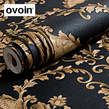 3D Damask Wallpaper Metallic PVC Black Luxury Embossed-Texture Vinyl Gold for Washable