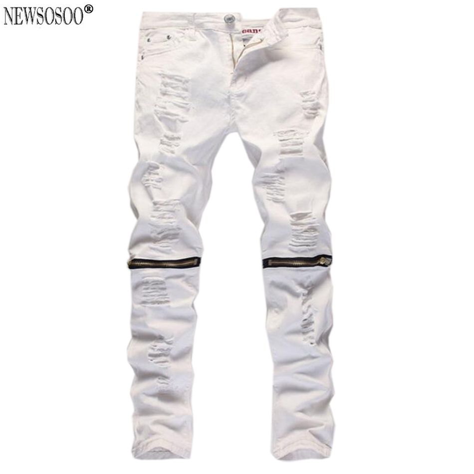Newsosoo brand Mens denim ripped jeans for men skinny Distressed slim designer hip hop white elastic jeans male MJ85Одежда и ак�е��уары<br><br><br>Aliexpress