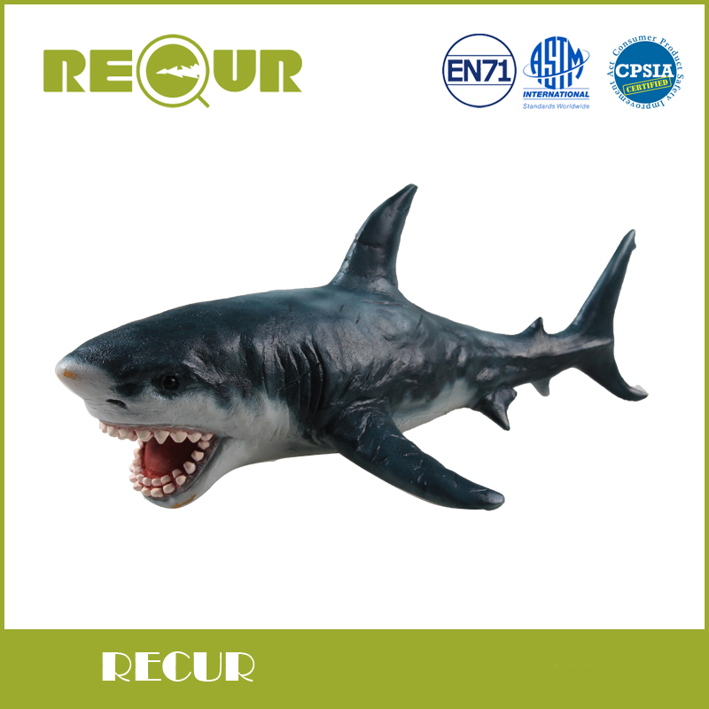 Recur Toys Great White Shark Hand Painted Soft PVC Marine Animal Collection Model Action &amp; Toys Figures For Kid Early Education<br>
