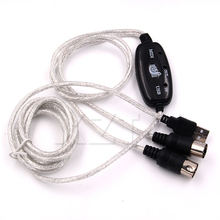 Hot Selling 1pcs Keyboard to PC USB MIDI Cable Converter PC to Music Keyboard Cord USB IN-OUT MIDI Interface Cable