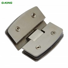 Stainless steel 135 degree glass clamp arc bathroom glass hinge glass hinge 304 drawing glass clip(China)