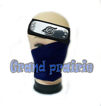 Anime naruto Leaf Village hatake kakashi NINJA cosplay Blue face mask & headband cosplay 2pcs/set Konoha Ninja Cosplay Props