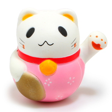10 cm Kawaii Fortune Cat Jumbo Squishy Charms Soft Buns keychains Cell Phone Strap Pendant Squishes Cartoon cute Doll collection(China)