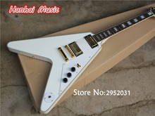Free Shipping-Electric Guitar,Flying V Shape,Gold Hardware,White Pickguard,White Body,Black Binding and can be Customized(China)