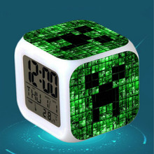 Kids Alarm Clock LED cartoon game Minecraft action toy figures Night light Electronic Toy Creeper minecrafts Digital Alarm Clock