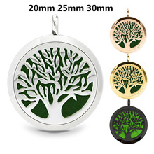 1pcs Round Tree of Life (20-30mm) Aromatherapy / Essential Oils Stainless Steel Perfume Diffuser Locket Necklace with Pads(China)