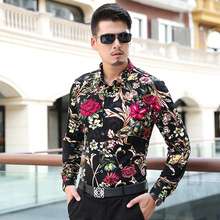 Spring and autumn male flower long-sleeve shirt loose fat shirt plus size plus size M-7XL casual male shirt(China)