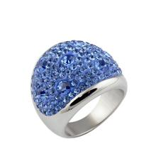 TYME Fashoin Women Men Stainless Steel Ring Mud Sticky Crystal Rings Of Male And Female Jewelry Gold/pink/blue/white color Rings(China)