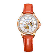 BUREI Top Luxury Brand Ladies Watch Women Leather Orange Strap Rhinestone Crystal Diamond Quartz Watch Clock Relogio Feminino(China)