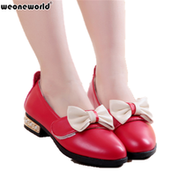 WEONEWORLD Spring Autumn Lovely Bowknot Dancing Shoes Baby Girls Children Kids Shoes Girls Princess Dress Leather Shoes 27-37(China)