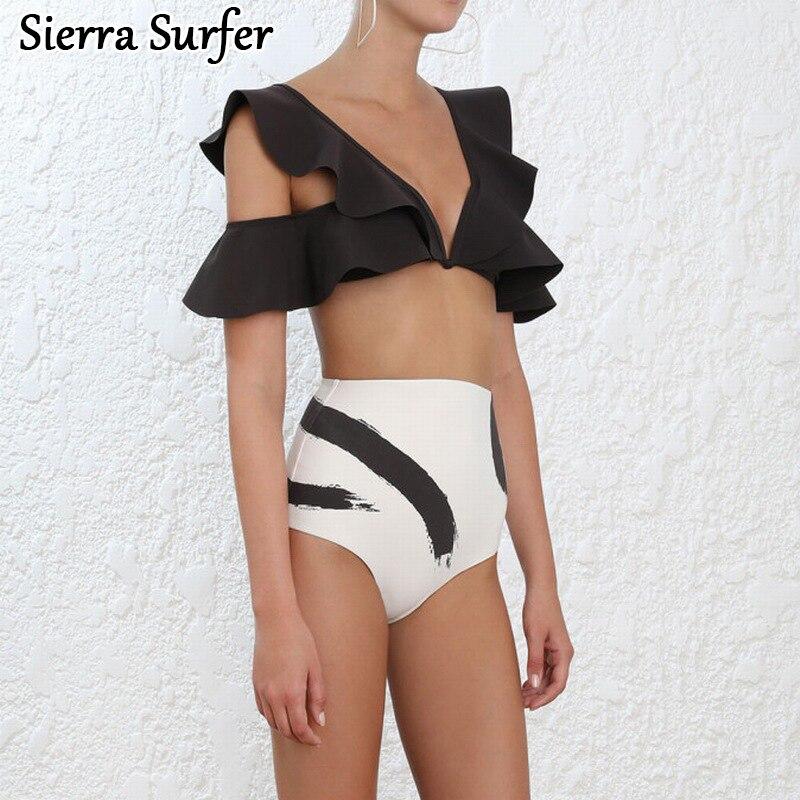 Female Swimwear Woman May Beach Women Bikini Top Xxl Swimsuit 2018 New Australian Brands Runway Looks Butterfly Wavy High Waist<br>