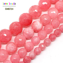 Wholesale Faceted Pink Stone 4/ 6/ 8/10/12mm Round Beads 15inches For Jewelry Making -F00497(China)
