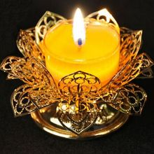 For the Buddha lamp, butter lamp holder, golden filigree lotus candelabra, hollow, candlestick, candleholder, candler~
