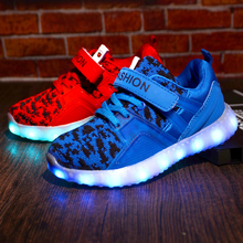 LED Kids Shoes Fashion Children Shoes Boys Girls Glowing Shoes Sneakers Lighted USB Charging Casual Shoes Running Sports 26-37(China)