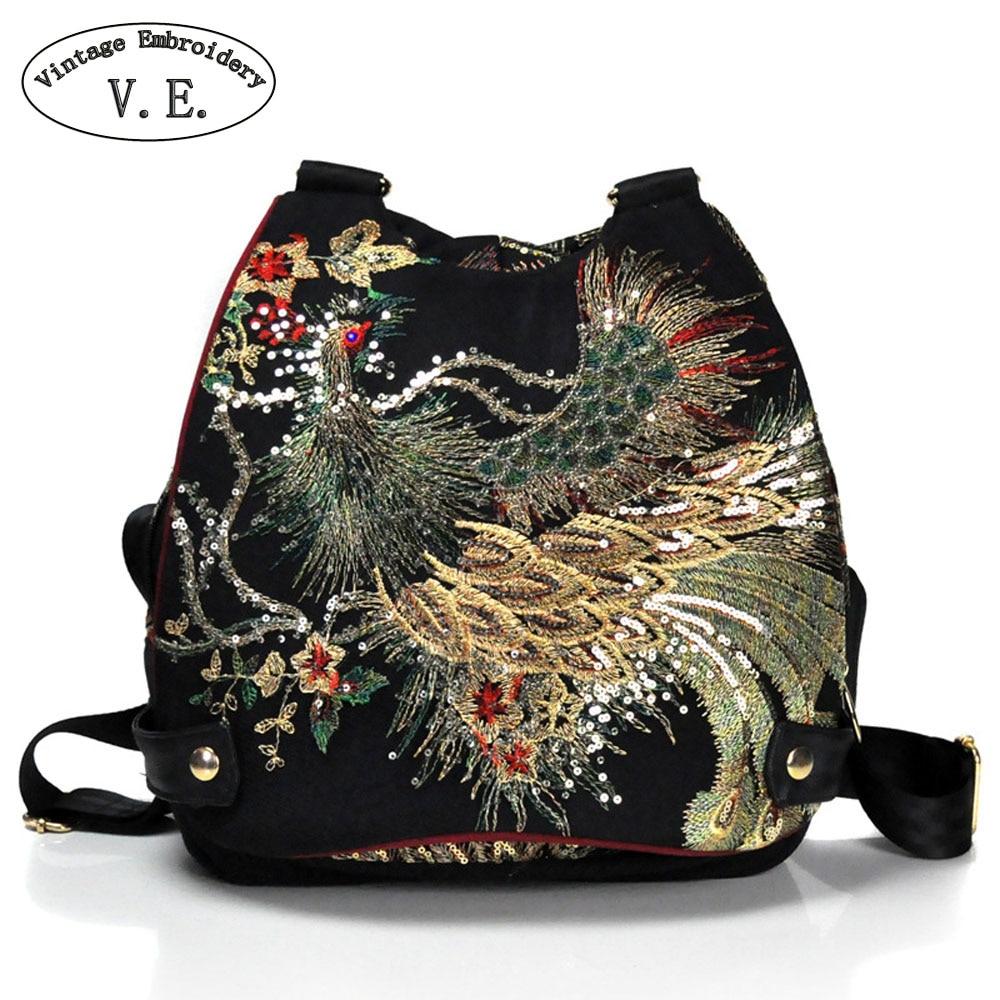Vintage Embroidery Women Backpack Peacock Sequin Thai Boho Travel School Shoulder Bag For Woman Rucksack Mochila<br>