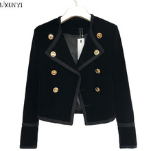 LXUNYI Hot Sale 2017 Autumn Women Velvet jackets And Coats Short Fashion Slim Thin Double Breasted Velvet jacket ladies Button(China)