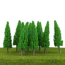 25Pcs Scenery Landscape Train Model Metasequoia Trees Scale 1/150 Jade Green