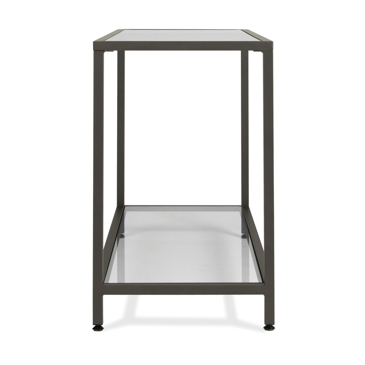 Studio Designs Camber Collection Rectangle Clear Glass Console Table - Pewter (2)