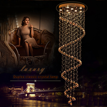 Modern K9 LED Spiral Living Room Crystal Chandeliers Lighting Fixture for Staircase Stair Bedroom Hotel Hall Chandelier VALLKIN