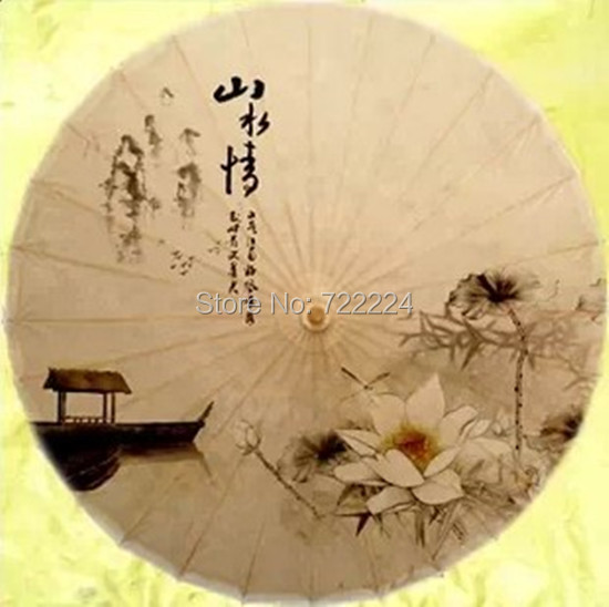 Free shipping china element craft Dia 84cm unique chinese landscape painting ,collection,props oiled paper umbrella<br>