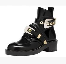 Paris catwalk locomotive woman boots metal buckle leather hollow sandal short boots real photos large size