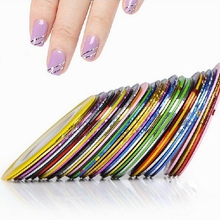 31Pcs Mixed Colorful Beauty Rolls Striping Decals Foil Tips Tape Line DIY Design Nail Art Stickers Tools Decorations #8802(China)