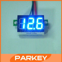 100 PCS/LOT DC Mini LED Blue Digital Display Voltmeter 0-100V Car Motorcycle Battery Monitor Voltmeter Ear