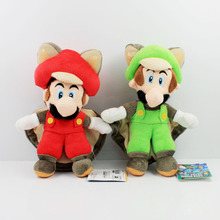 Super mario bros 2pcs 8inch&9inch 2 styles super mario wii U musasabi flying mario luigi toad plush figure doll